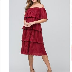 Just Me off the shoulder tiered pleated midi dress